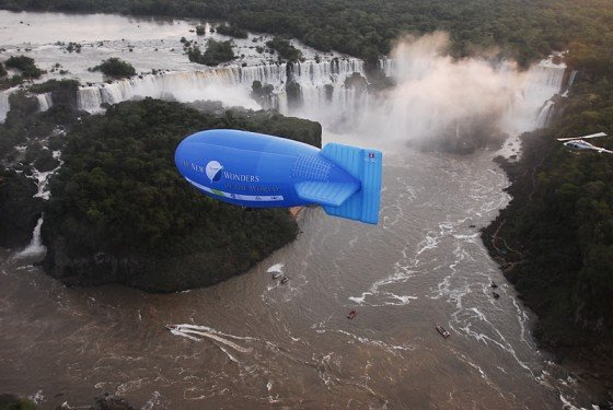Gliding over Iguazu Falls in the New7Wonders airship