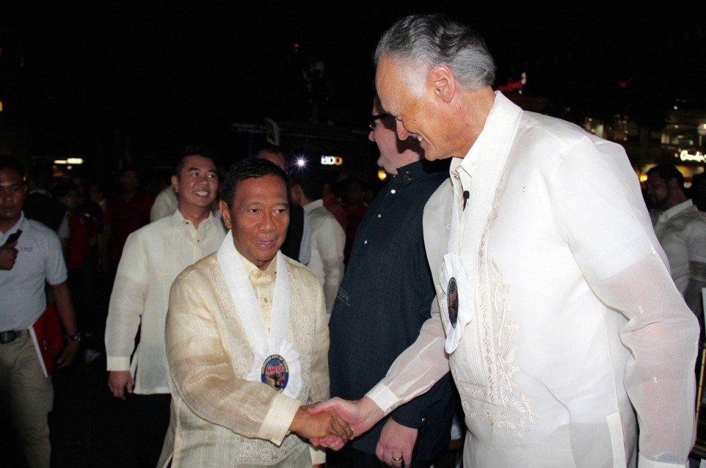 The Vice-President of the Philippines, Jejomar Binay (left), shakes hands with the Founder-President of New7Wonders, Bernard Weber (right), at the Official New7Wonders Cities Inauguration ceremonies for Vigan, which took place in the Philippines yesterday.